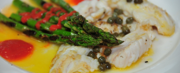 Lionfish Beurre Blanc With Grilled Asparagus And Roasted