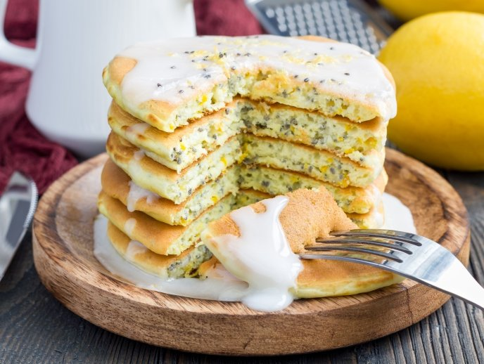 Lemon Chia Pancakes with a Citrus Glaze